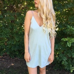 Suede Baby Blue Shift Dress